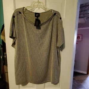 *NWT* striped top w/ buttons down sleeves